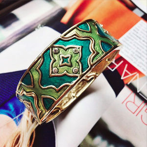 Gold & Green Statement Bracelet